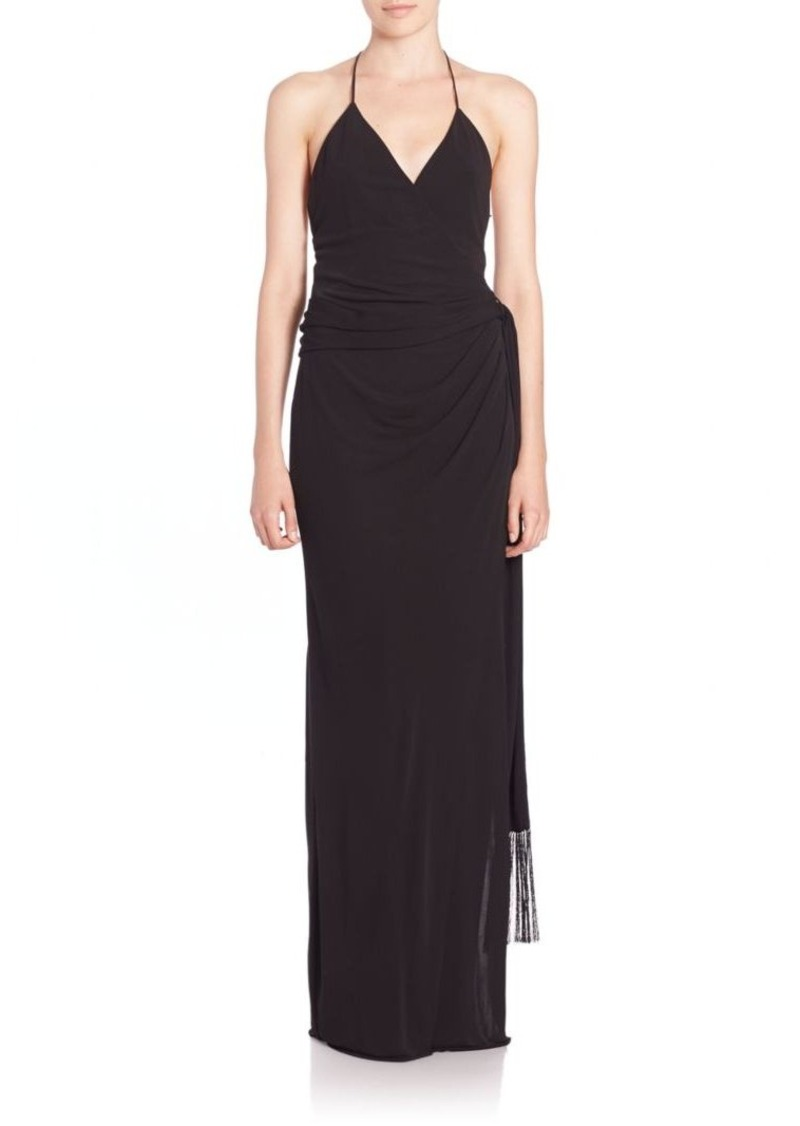 L'AGENCE Sabrina Pleated Side Wrap Halter Gown