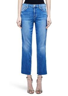 L'AGENCE Sada High Waist Tape Outseam Crop Slim Jeans (Dover)