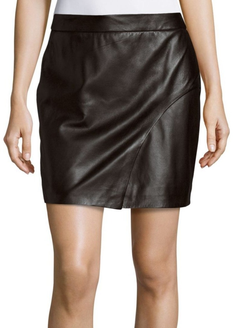 L'AGENCE Sienna Solid Leather Skirt