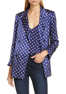 L'AGENCE Taryn Print Silk Satin Double Breasted Blazer