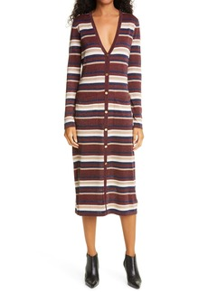 L'AGENCE V-Neck Stripe Long Sleeve Midi Sweater Dress