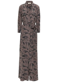 L'agence Woman Cameron Belted Printed Silk Crepe De Chine Maxi Dress Taupe