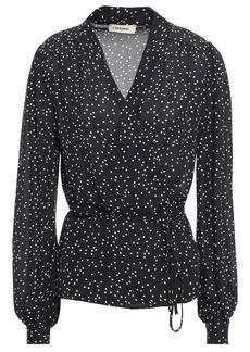 L'agence Woman Cara Polka-dot Silk-crepe Wrap Blouse Black