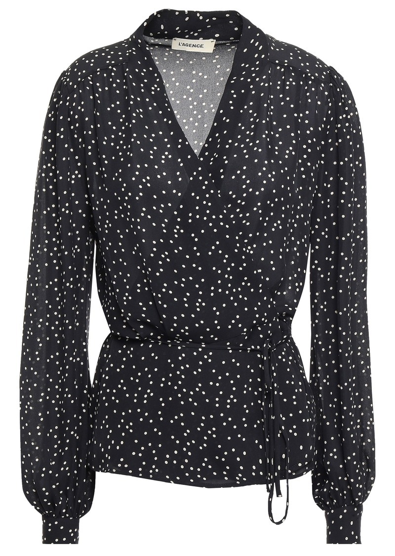 L'agence Woman Cara Polka-dot Silk-crepe Wrap Blouse Black