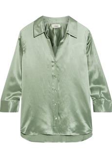 L'agence Woman Dani Silk-charmeuse Shirt Light Green