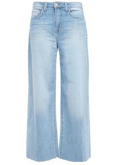 L'agence Woman Danica Frayed High-rise Wide-leg Jeans Light Denim