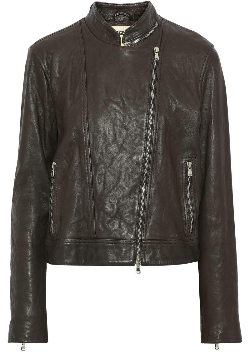 L'agence Woman Devon Leather Biker Jacket Taupe