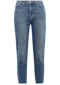 L'agence Woman El Matador Cropped Crystal-embellished High-rise Slim-leg Jeans Mid Denim