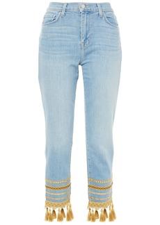 L'agence Woman Embellished High-rise Slim-leg Jeans Light Denim