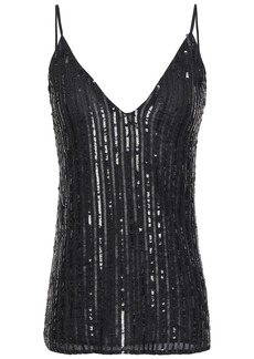 L'agence Woman Gabriella Sequin-embellished Georgette Camisole Black
