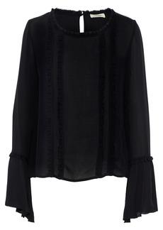 L'agence Woman Gilda Ruffle-trimmed Silk-chiffon Top Black
