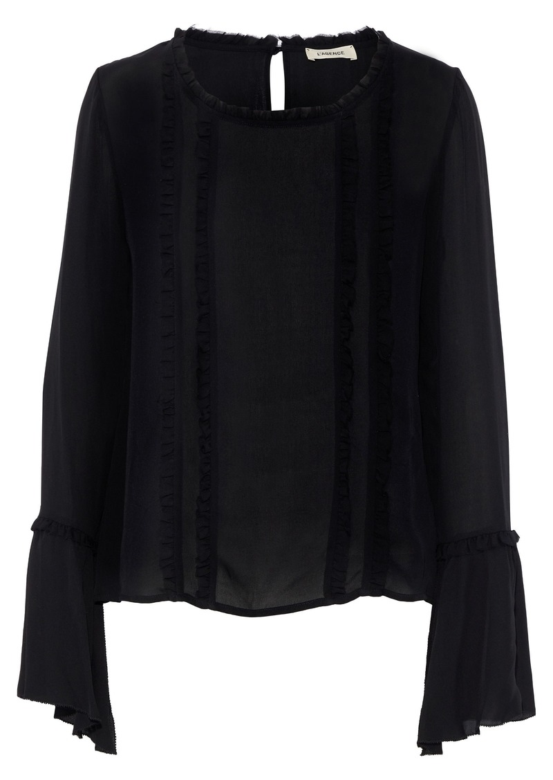 L'agence Woman Gilda Ruffle-trimmed Silk-chiffon Top Black