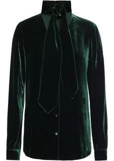 L'agence Woman Giselle Tie-neck Velvet Blouse Forest Green