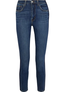L'agence Woman High 10 Cropped Two-tone Mid-rise Skinny Jeans Mid Denim
