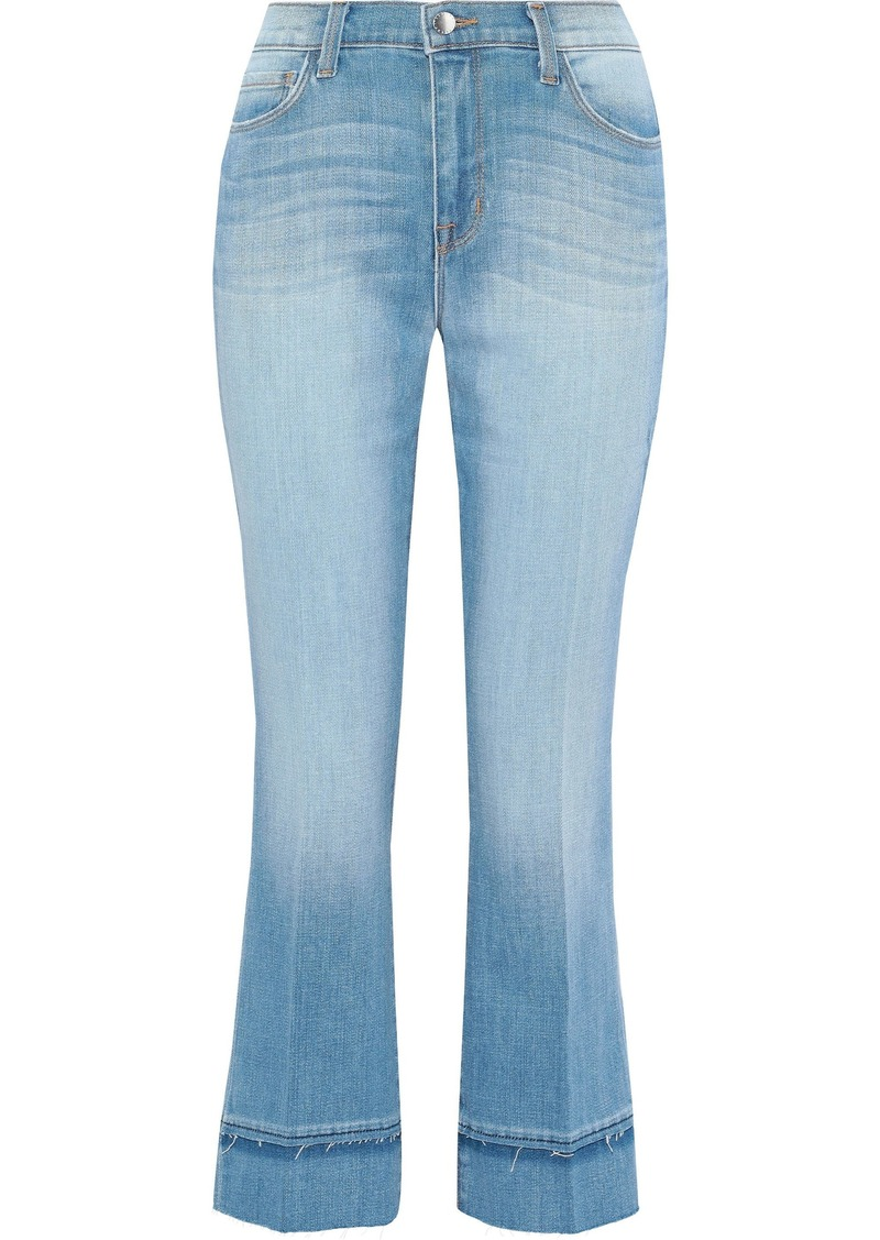 L'agence Woman Jada Cropped Faded Mid-rise Bootcut Jeans Light Denim