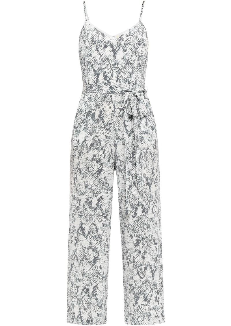 L'agence Woman Jaelyn Belted Snake-print Silk Crepe De Chine Jumpsuit Stone