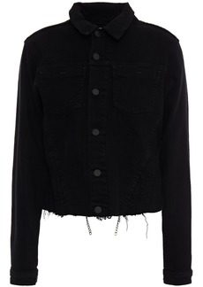L'agence Woman Janelle Chain-embellished Frayed Denim Jacket Black