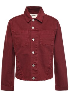 L'agence Woman Janelle Cropped Frayed Denim Jacket Claret