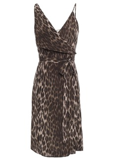 L'agence Woman Julieta Leopard-print Silk Crepe De Chine Wrap Dress Animal Print