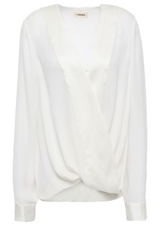 L'agence Woman Kyla Wrap-effect Satin-trimmed Silk-crepe Blouse Ivory