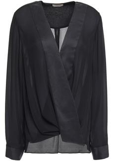 L'agence Woman Kyla Wrap-effect Satin-trimmed Silk-crepe Blouse Black