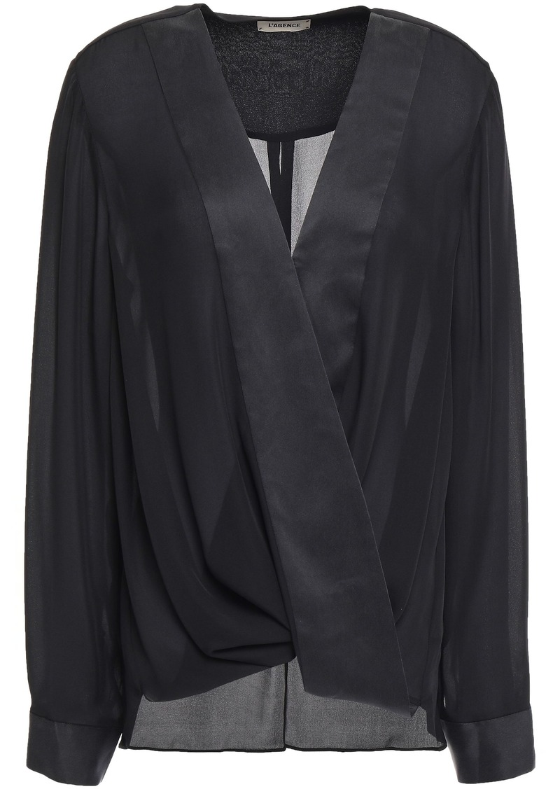 L'agence Woman Kyla Wrap-effect Satin-trimmed Silk-crepe Blouse Black