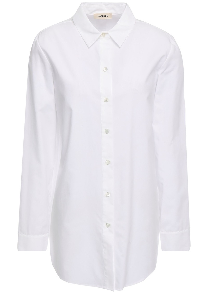 L'agence Woman Layla Split-back Cotton-poplin Shirt White
