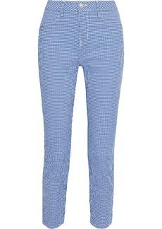 L'agence Woman Mandy Cropped Gingham Cotton-blend Seersucker Skinny Pants Blue