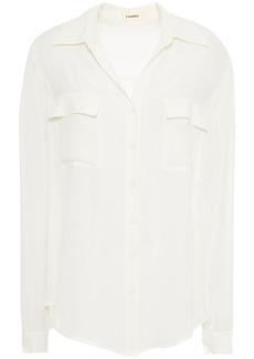 L'agence Woman Margaret Double Pocket Silk Shirt Ivory