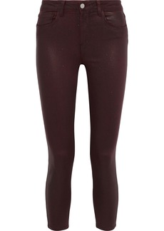 L'agence Woman Margot Cropped Glittered Mid-rise Skinny Jeans Burgundy