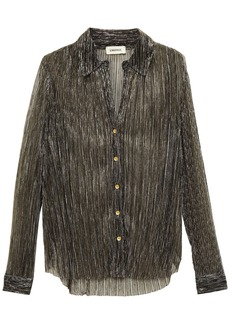 L'agence Woman Nina Metallic Plissé Crochet-knit Shirt Gunmetal