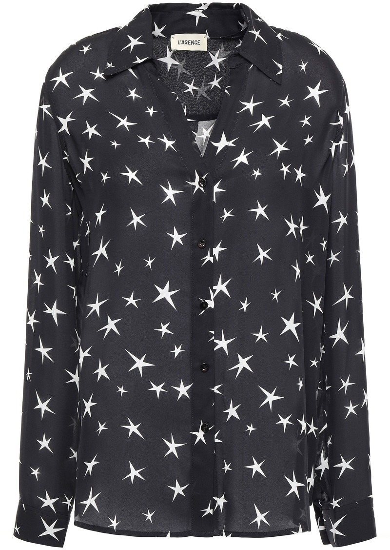 L'agence Woman Nina Printed Silk Crepe De Chine Shirt Black