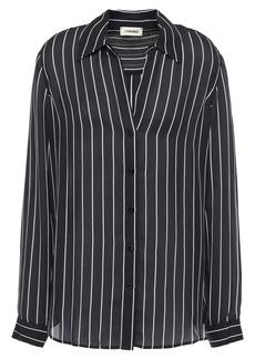 L'agence Woman Nina Striped Silk-crepe Shirt Black