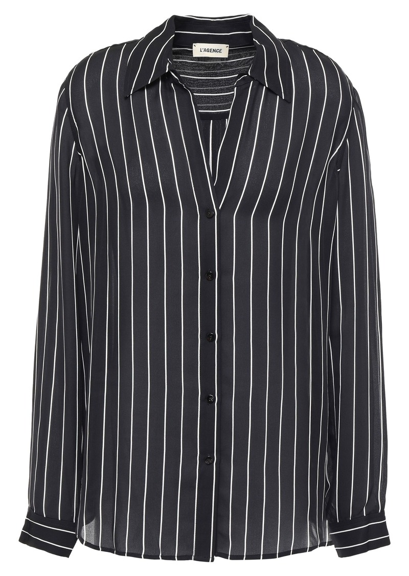 L'agence Woman Nina Striped Silk-crepe Shirt Black