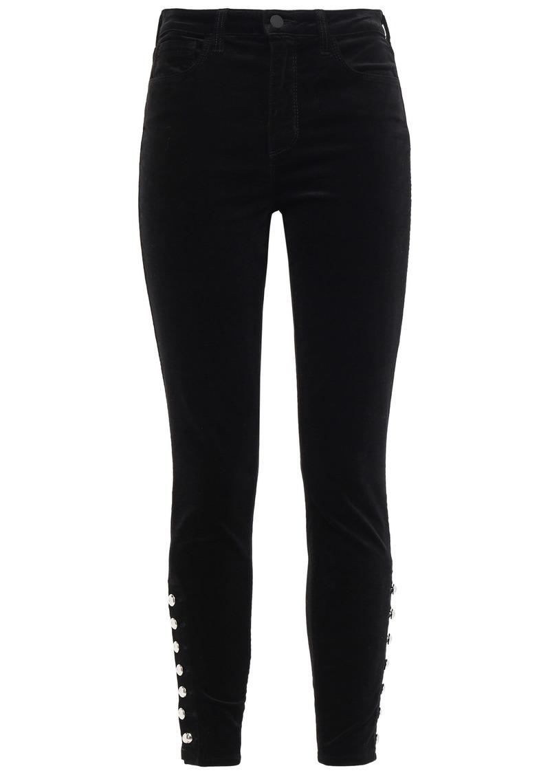 L'agence Woman Piper Button-detailed Velvet Skinny Pants Black