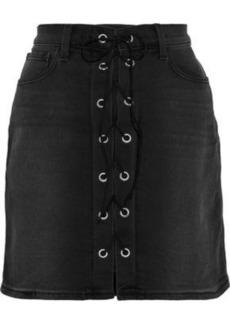 L'agence Woman Portia Lace-up Denim Mini Skirt Black