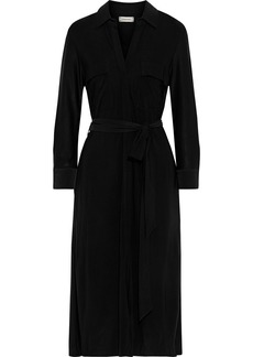 L'agence Woman Rivi Belted Satin-jersey Midi Shirt Dress Black