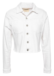 L'agence Woman Sequined Denim Jacket White