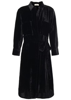 L'agence Woman Stella Belted Crushed-velvet Shirt Dress Black
