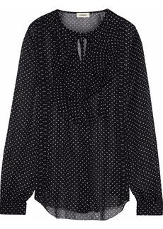 L'agence Woman Tabitha Ruffled Printed Silk-georgette Blouse Black