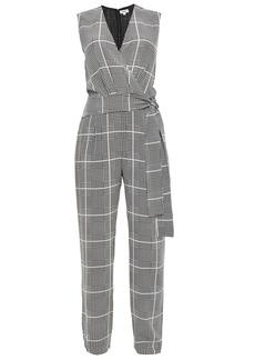 L'agence Woman Wrap-effect Checked Silk Crepe De Chine Jumpsuit Off-white