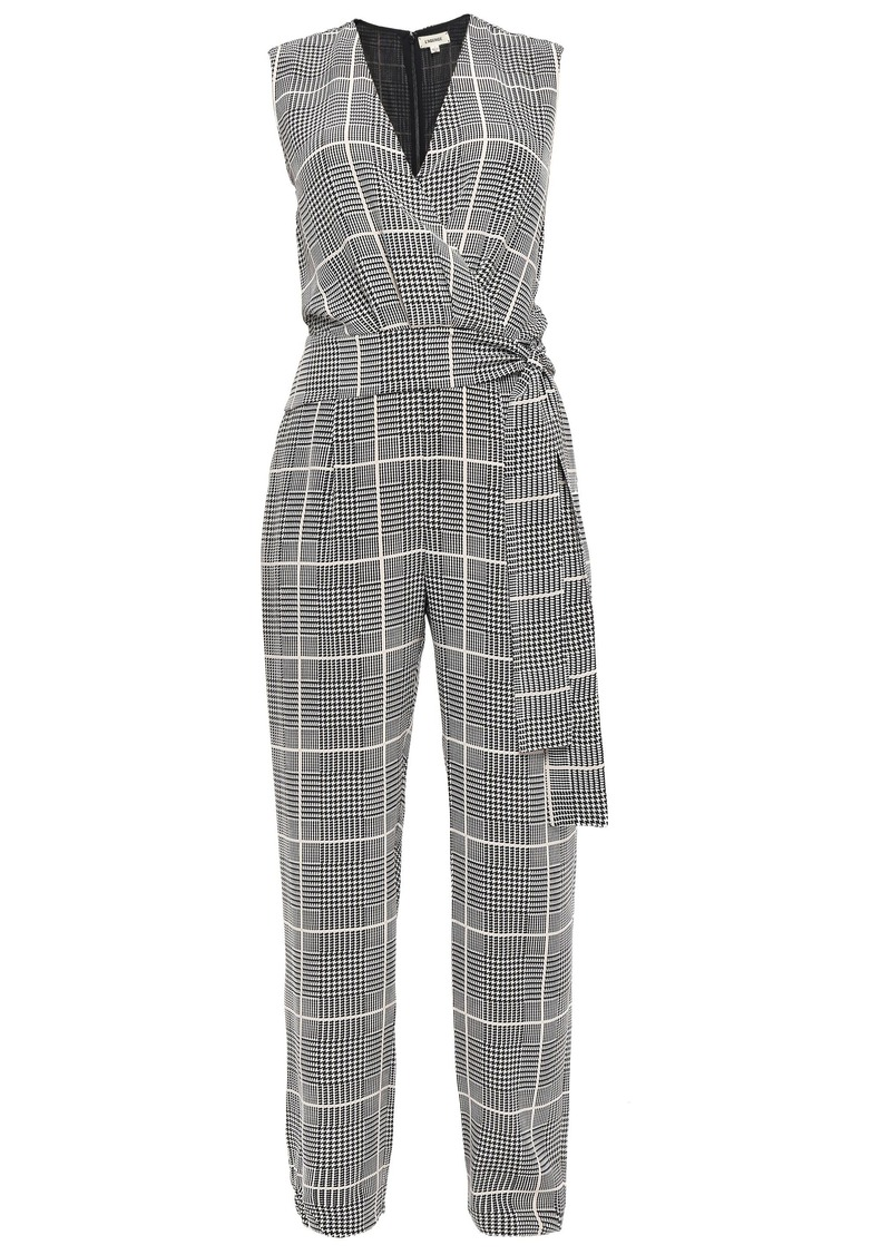L'agence Woman Wrap-effect Checked Silk Crepe De Chine Jumpsuit Off-white