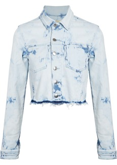 L'agence Woman Zuma Cropped Bleached Denim Jacket Light Denim