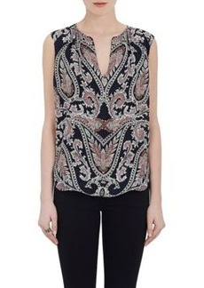 L'Agence Women's Abella Paisley Silk Sleeveless Blouse