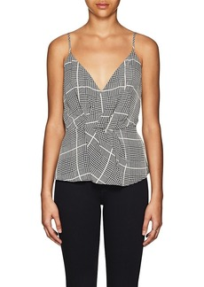 L'Agence Women's Chiara Houndstooth Silk Twisted Top