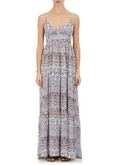 L'Agence Women's Folkloric-Print Silk Maxi Dress