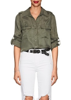 L'Agence Women's Lunetta Washed Twill Blouse
