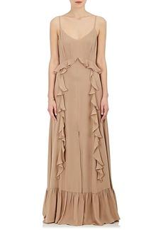 L'Agence Women's Perla Silk Ruffle Maxi Dress