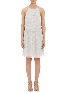 L'Agence Women's Ruffled-Front Crinkled Chiffon Midi-Dress