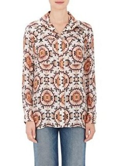 L'Agence Women's Soleil Silk French Cuff Blouse